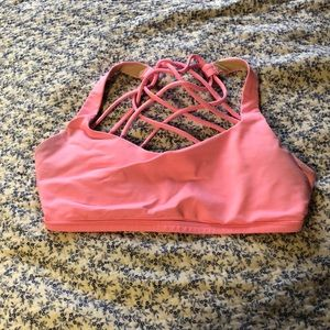 Lululemon free to be wild bra pink shell